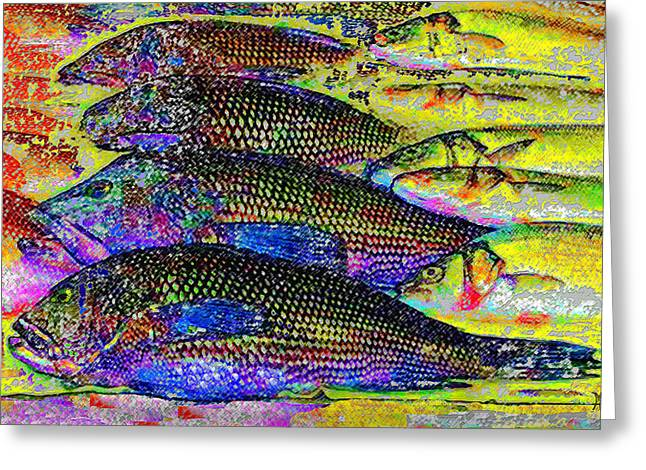 Salmon Paintings Greeting Cards - Arthur Avenue Fish Market Greeting Card by Michele  Avanti