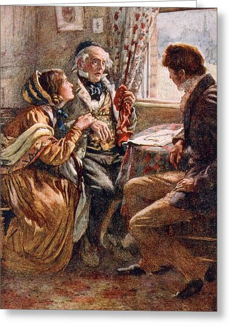 Charles Dickens Greeting Cards - Arthur Clennam Tells The Good News, Illustration For Character Sketches From Dickens Compiled Greeting Card by Harold Copping