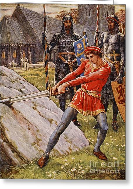 King Arthur Greeting Cards - Arthur draws the Sword from the Stone Greeting Card by Walter Crane