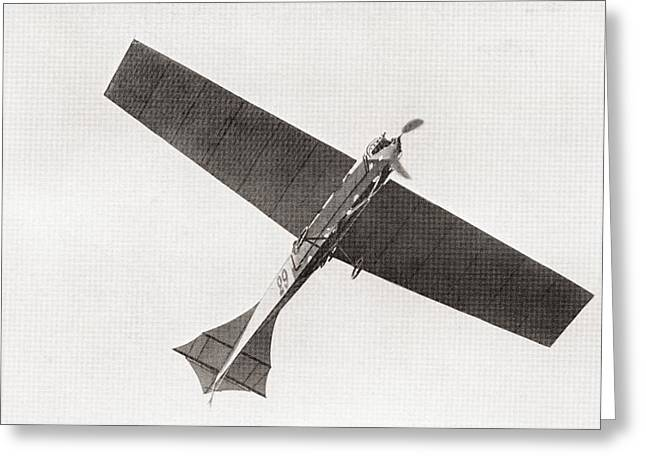 Flying Planes Greeting Cards - Arthur Lathams Monoplane In The Air In 1909.  Arthur Charles Hubert Latham,  1883 –1912.  French Greeting Card by Bridgeman Images