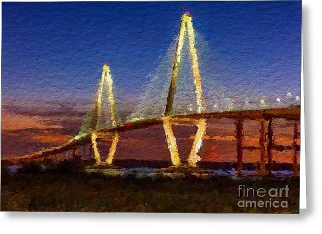 Arthur Ravenel Bridge At Evening  Greeting Card by Anthony Fishburne