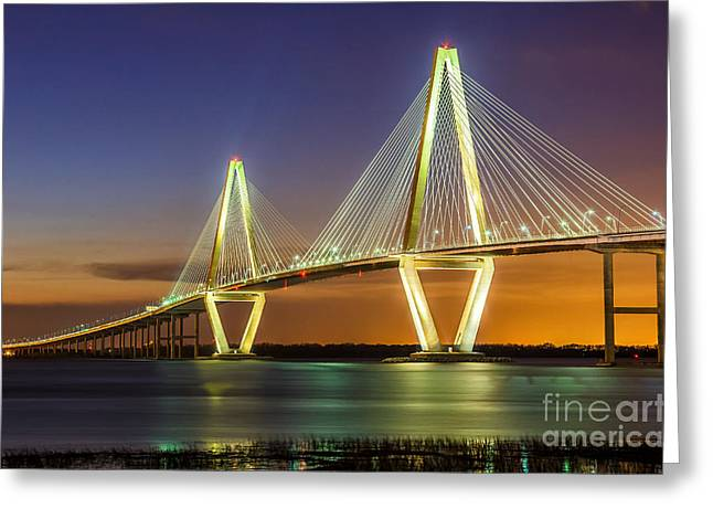 Cable-stayed Bridge Greeting Cards - Arthur Ravenel Bridge Charleston SC Greeting Card by Anthony Heflin
