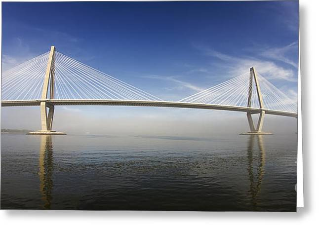 Cable-stayed Bridge Greeting Cards - Arthur Ravenel Bridge Cooper River Charleston Greeting Card by Dustin K Ryan
