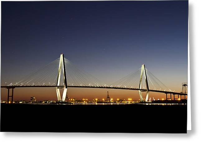 Scenic Drive Greeting Cards - Arthur Ravenel JR Bridge at Twilight Greeting Card by Pierre Leclerc Photography