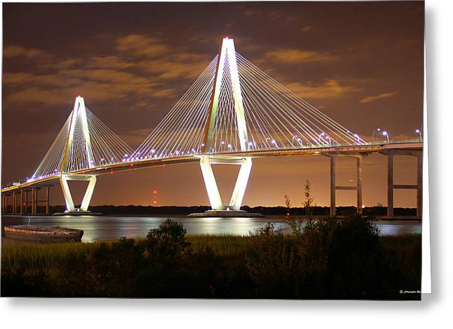 Famous Bridge Greeting Cards - Arthur Ravenel Jr. Bridge   Charleston South Carolina  Greeting Card by Christopher  Ward