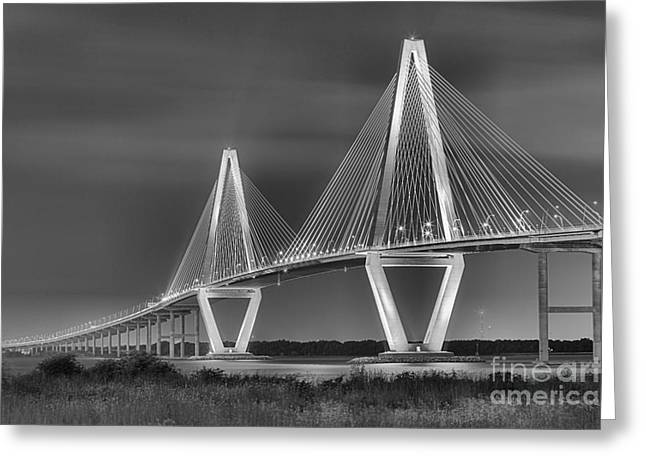 Ravenel Greeting Cards - Arthur Ravenel Jr. Bridge In Black And White Greeting Card by Adam Jewell