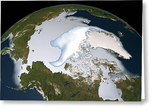 21st Greeting Cards - Artic sea ice coverage, 2012 Greeting Card by Science Photo Library