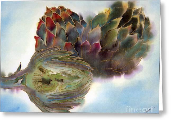 Artichokes Greeting Card by Addie Hocynec