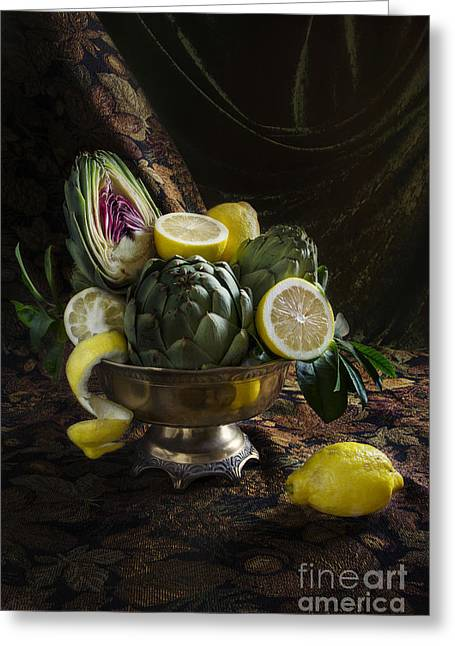 Tabletop Greeting Cards - Artichokes And Lemons Greeting Card by Elena Nosyreva