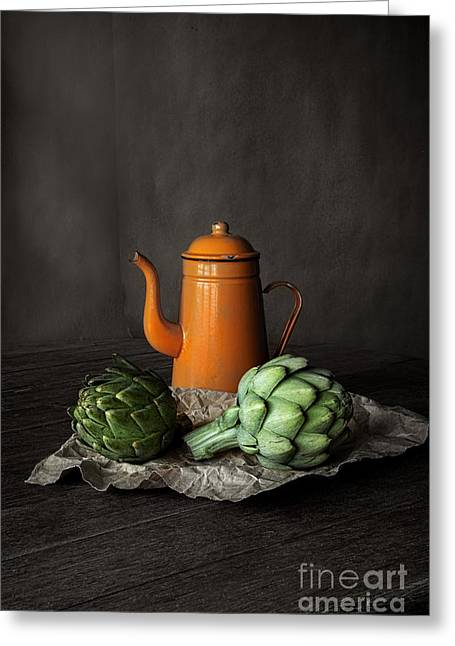 Interior Still Life Photographs Greeting Cards - Artichokes Greeting Card by Elena Nosyreva