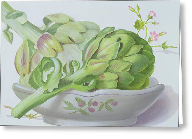Ingredients Paintings Greeting Cards - Artichokes Greeting Card by Lizzie Riches