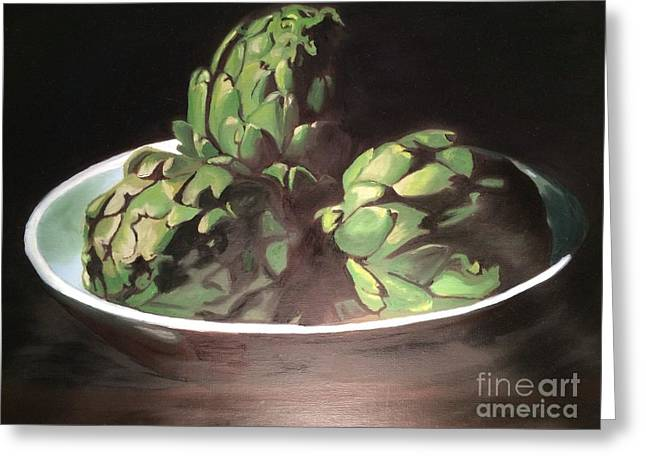 Photorealistic Paintings Greeting Cards - Artichokes  Greeting Card by Xan Xeixo