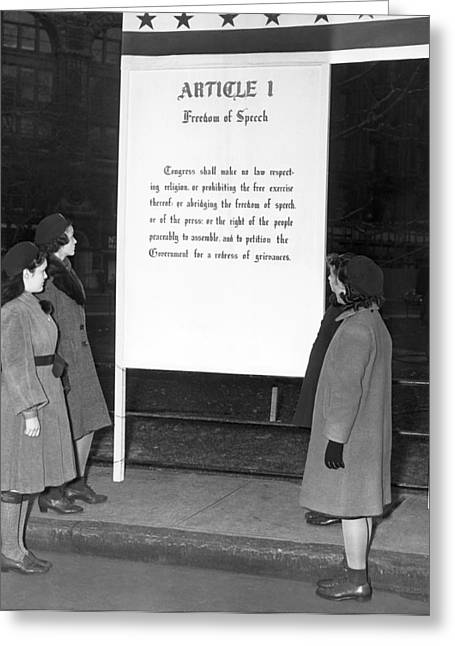 Article 1, Freedom Of Speech Greeting Card by Underwood Archives