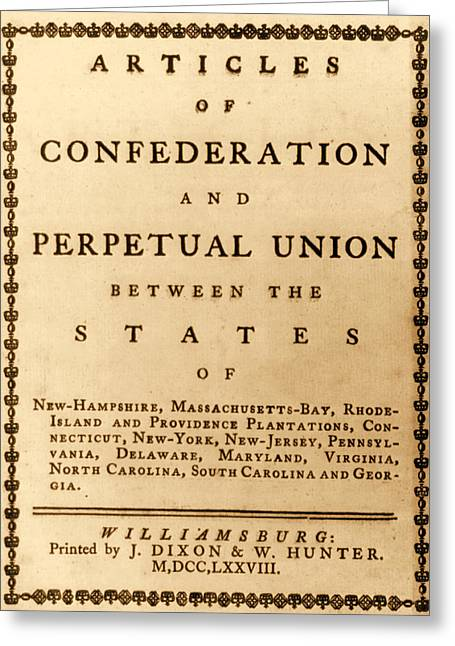 Articles Of Confederation, 1777 Greeting Card by Science Source