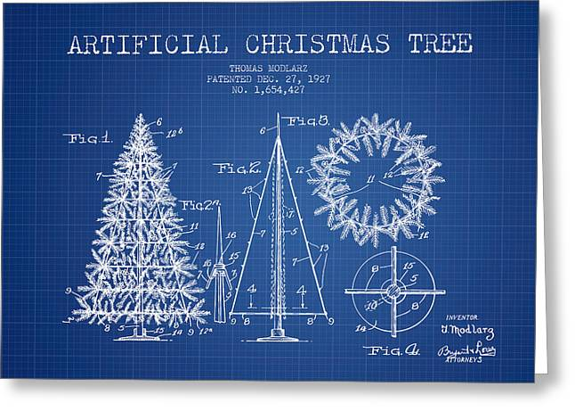 Christmas Art Greeting Cards - Artifical Christmas Tree Patent from 1927 - Blueprint Greeting Card by Aged Pixel