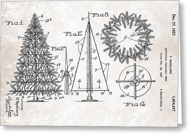 Drawing Greeting Cards - Artifical Christmas Tree Patent From 1927 Greeting Card by Celestial Images