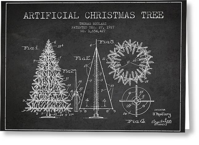 Christmas Ornament Greeting Cards - Artifical Christmas Tree Patent from 1927 - Charcoal Greeting Card by Aged Pixel