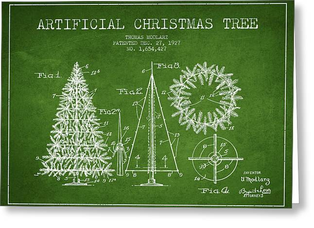 Christmas Art Greeting Cards - Artifical Christmas Tree Patent from 1927 - Green Greeting Card by Aged Pixel