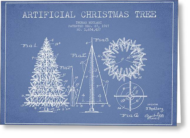 Christmas Art Greeting Cards - Artifical Christmas Tree Patent from 1927 - Light Blue Greeting Card by Aged Pixel