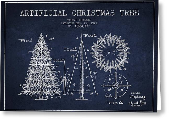 Christmas Art Greeting Cards - Artifical Christmas Tree Patent from 1927 - Navy Blue Greeting Card by Aged Pixel