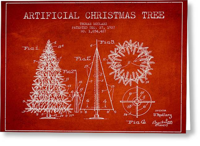 Christmas Art Greeting Cards - Artifical Christmas Tree Patent from 1927 - Red Greeting Card by Aged Pixel