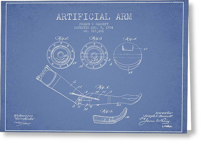 Bedroom Art Greeting Cards - Artificial Arm patent from 1904 - Light Blue Greeting Card by Aged Pixel