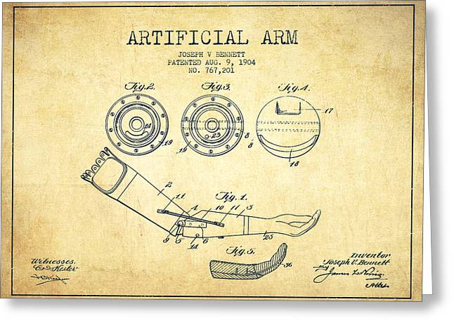 Implant Greeting Cards - Artificial Arm patent from 1904 - Vintage Greeting Card by Aged Pixel