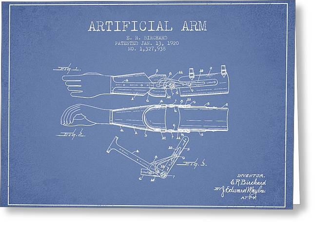 Implant Greeting Cards - Artificial Arm patent from 1920 - Light Blue Greeting Card by Aged Pixel