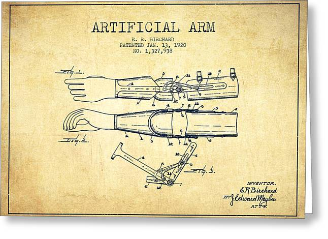 Implant Greeting Cards - Artificial Arm patent from 1920 - Vintage Greeting Card by Aged Pixel