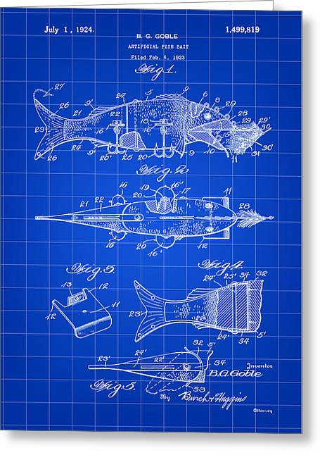 Fish Digital Art Greeting Cards - Artificial Bait Patent 1923 - Blue Greeting Card by Stephen Younts