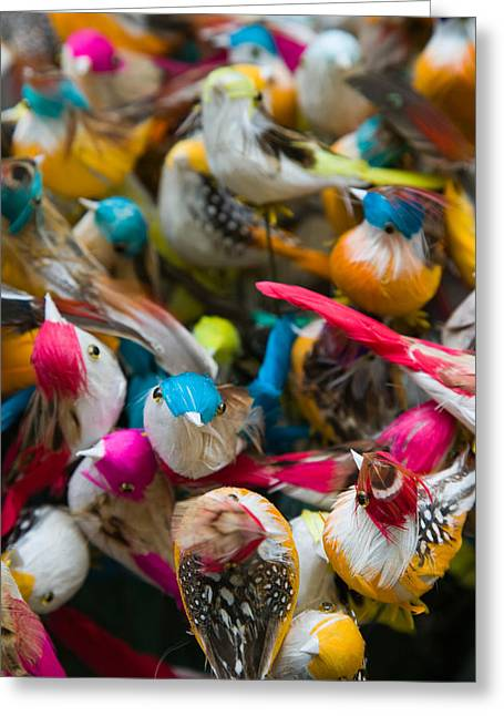 Retail Art Greeting Cards - Artificial Birds For Sale At A Market Greeting Card by Panoramic Images