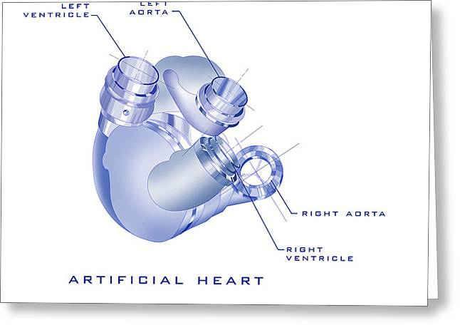 Spheres Paintings Greeting Cards - Artificial Heart Greeting Card by James Christopher Hill