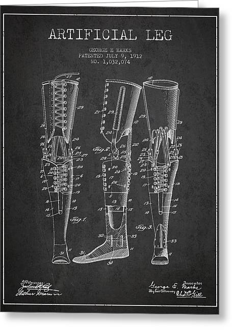 Implant Greeting Cards - Artificial Leg Patent from 1912 - Dark Greeting Card by Aged Pixel