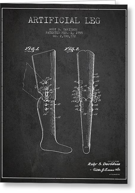 Implant Greeting Cards - Artificial Leg Patent from 1955 - Dark Greeting Card by Aged Pixel