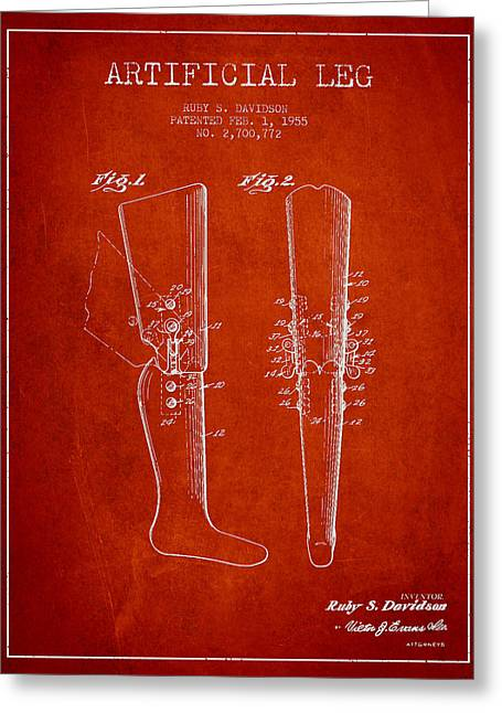 Implant Greeting Cards - Artificial Leg Patent from 1955 - Red Greeting Card by Aged Pixel