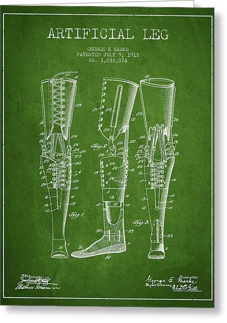 Implant Greeting Cards - Artificial Leg Patent from 1912 - Green Greeting Card by Aged Pixel