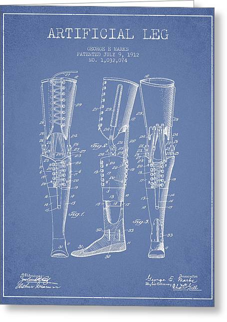 Implant Greeting Cards - Artificial Leg Patent from 1912 - Light Blue Greeting Card by Aged Pixel
