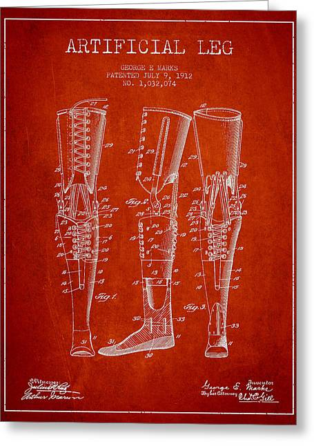 Implant Greeting Cards - Artificial Leg Patent from 1912 - Red Greeting Card by Aged Pixel