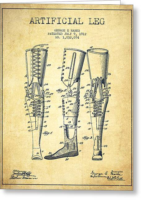 Implant Greeting Cards - Artificial Leg Patent from 1912 - Vintage Greeting Card by Aged Pixel