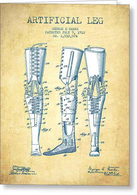 Body-parts Greeting Cards - Artificial Leg Patent from 1912 - Vintage Paper Greeting Card by Aged Pixel
