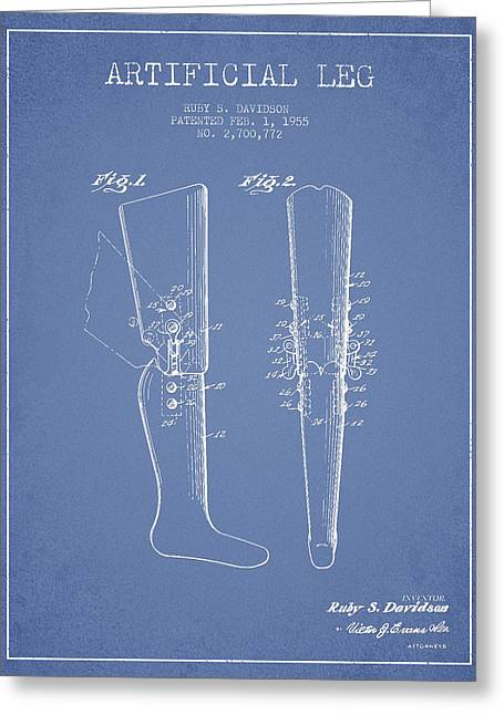 Implant Greeting Cards - Artificial Leg Patent from 1955 - Light Blue Greeting Card by Aged Pixel