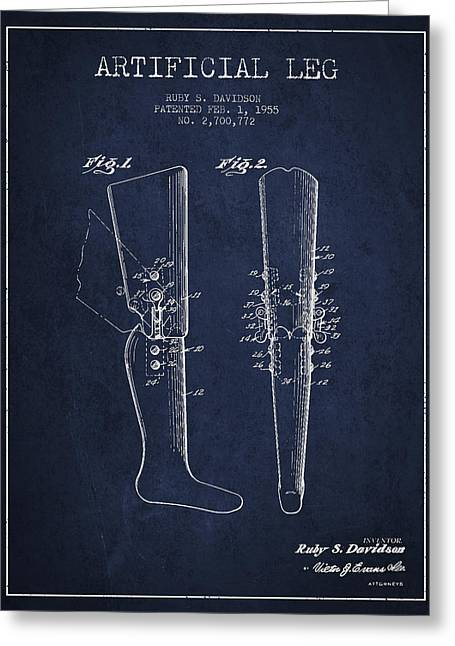 Implant Greeting Cards - Artificial Leg Patent from 1955 - Navy Blue Greeting Card by Aged Pixel