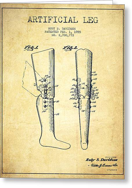 Implant Greeting Cards - Artificial Leg Patent from 1955 - Vintage Greeting Card by Aged Pixel