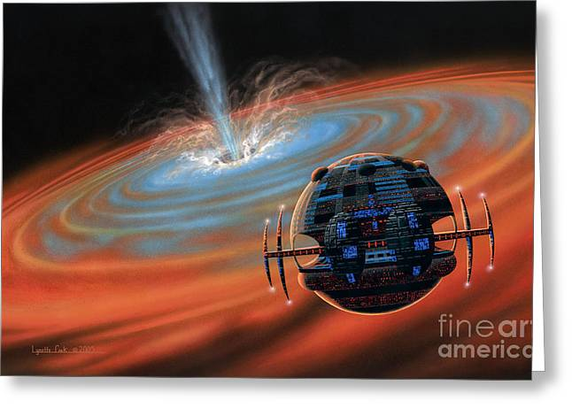 Planetary System Paintings Greeting Cards - Artificial Planet Orbiting a Black Hole Greeting Card by Lynette Cook