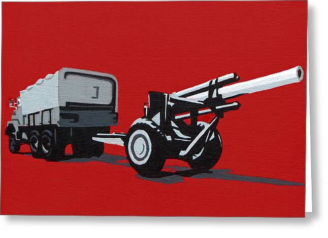 Iraq Paintings Greeting Cards - Artillery Gun Greeting Card by Slade Roberts
