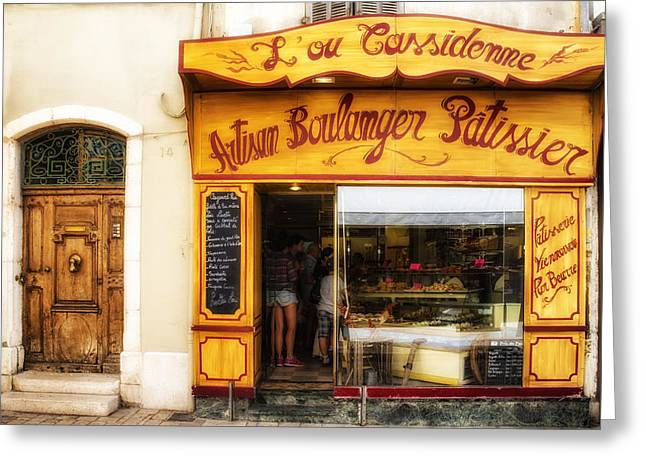 South Of France Greeting Cards - Artisan Boulanger in Cassis Greeting Card by Georgia Fowler