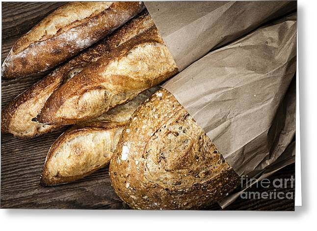 Bread Loaf Greeting Cards - Artisan bread Greeting Card by Elena Elisseeva