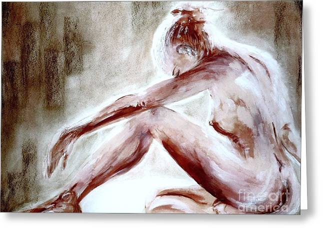Sat Pastels Greeting Cards - Artisitc Nude  Greeting Card by Alex Thomas