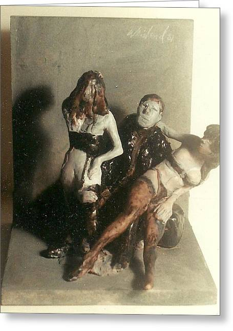 Black Man Sculptures Greeting Cards - Artist 2 Models in Black Lingerie Greeting Card by Harry WEISBURD