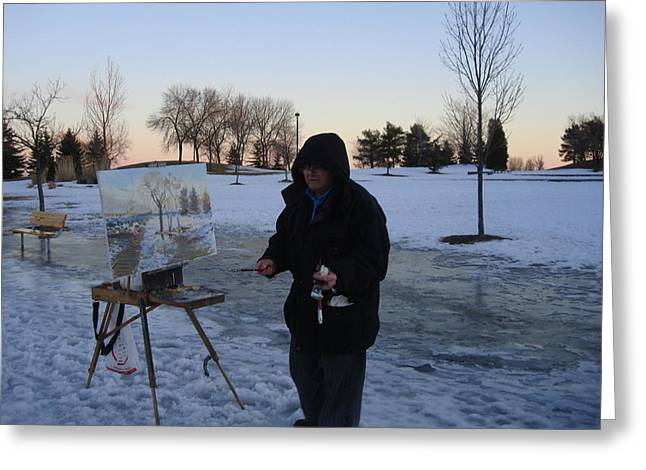 ist Photographs Greeting Cards - Artist at Work lake shore mississauga on Greeting Card by Ylli Haruni